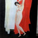 La-Femme-au-rideau-rouge-100x130-Acrylique-sur-toile